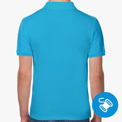 Мужская рубашка поло Fruit of the Loom, ультрамарин (вышивка)