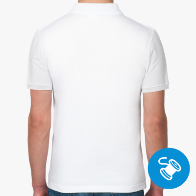 Мужская рубашка поло Fruit of the Loom, белая (вышивка)