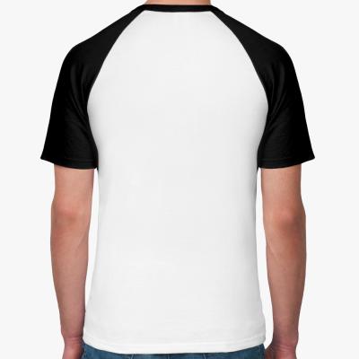 Мужская футболка реглан, бел/черн