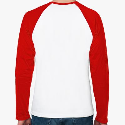 Футболка реглан с длинным рукавом, бел/красный