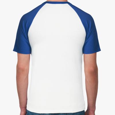 Мужская футболка реглан, бел/син