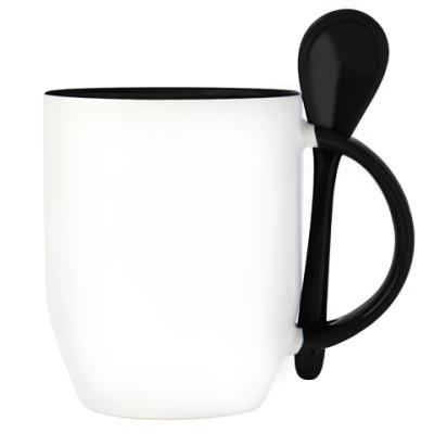 Кружка с ложкой, черная