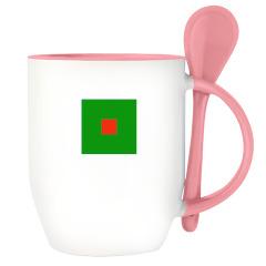 Кружка с ложкой, розовая