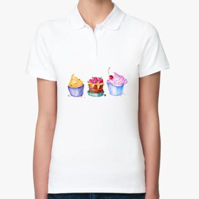 Женская рубашка поло Пирожное, акварель.