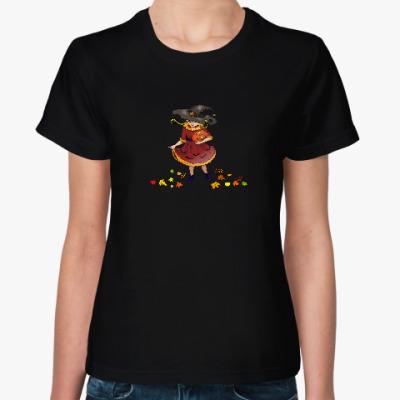 Женская футболка Ведьма с тыквой