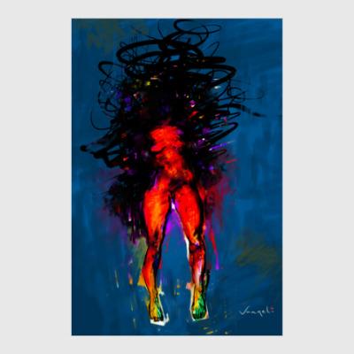 Постер Красная женщина