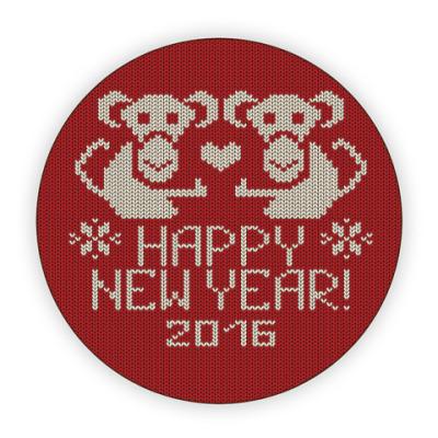 Костер (подставка под кружку) С новым годом обезьяны 2016