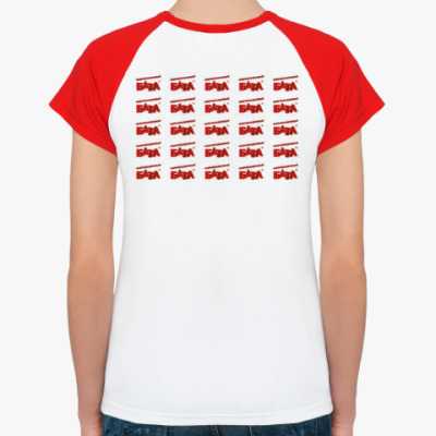 Женская футболка реглан, бел/красн