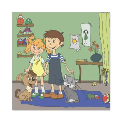 Наклейка (стикер) Девочка и мальчик